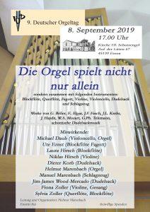 Die Orgel spielt nicht gern allein